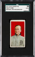 Baseball Cards:Singles (Pre-1930), 1909-11 T206 Cycle 460 Ty Cobb (Red Portrait) SGC 30 Good 2 - Nameat Top & Bottom! ...