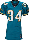 Football Collectibles:Uniforms, 2001 Stacey Mack Game Worn, Unwashed Jacksonville Jaguars Jersey....