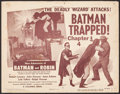 "Movie Posters:Serial, The New Adventures of Batman and Robin (Columbia, 1949). TitleLobby Card (11"" X 14""). ""Chapter 4 -- Batman Trapped!"" Serial..."