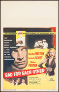 """Movie Posters:Drama, Bad for Each Other (Columbia, 1953). Window Card (14"""" X 22"""").Drama.. ..."""