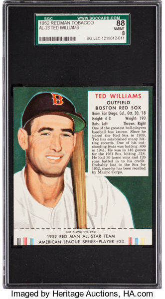 1952 Red Man Ted Williams 23a Sgc 88 Nmmt 8 None Higher