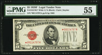 Fr. 1531* $5 1928F Wide I Legal Tender Star Note. PMG About Uncirculated 55