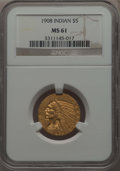 Indian Half Eagles, 1908 $5 MS61 NGC. NGC Census: (1675/4614). PCGS Population: (624/4220). MS61. Mintage 577,800. ...