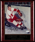 """Hockey Collectibles:Photos, Gordie Howe Signed Photograph with Plaque - Includes """"6 M.V.P.'s""""Inscription. . ..."""