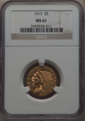 Indian Half Eagles: , 1915 $5 MS61 NGC. NGC Census: (1685/2996). PCGS Population:(624/2977). MS61. Mintage 588,075. ...