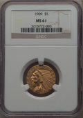 Indian Half Eagles: , 1909 $5 MS61 NGC. NGC Census: (1895/3621). PCGS Population:(628/3056). MS61. Mintage 627,138. ...