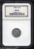 Barber Dimes: , 1896-S 10C MS62 NGC. Well struck, lightly toned, and satiny, with asmall mark on Liberty's cheek, and another on the D in ...