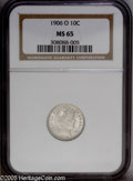 Barber Dimes: , 1906-O 10C MS65 NGC. Sharply struck with satiny, vibrantly lustroussurfaces that are blemish-free and virtually untoned ov...