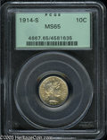 Barber Dimes: , 1914-S 10C MS65 PCGS. This coin displays hints of gold-tan colorand is highly lustrous. Boldly executed by the dies, with ...