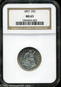 Seated Quarters: , 1857 25C MS63 NGC. Lustrous surfaces display faint magenta toningalong portions of the borders. The design elements are ge...