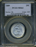 Seated Quarters: , 1889 25C MS64 PCGS. Blast white with frosty luster that sparkles.One wispy graze in the right obverse field prevents the c...