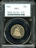 Proof Seated Quarters: , 1863 25C PR63 PCGS. Housed in the second generation transitionalholder, this example is delicately colored with mild frost...