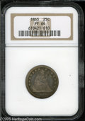 Proof Seated Quarters: , 1863 25C PR64 NGC. Abundant amounts of golden-gray and lavenderpatina are bordered with jade-green and reddish-gold at sel...