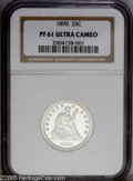 Proof Seated Quarters: , 1890 25C PR61 Deep Cameo NGC. The devices on both sides areexceptionally heavily frosted. Set atop seemingly unfathomable ...