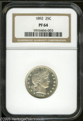 Proof Barber Quarters: , 1892 25C PR64 NGC. Type Two Reverse. Very lightly toned, with a near cameo-effect. Exquisitely struck, and no significant m...