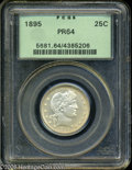Proof Barber Quarters: , 1895 25C PR64 PCGS. An exquisitely struck cream-gray near-Gem. The portrait appears to provide mild cameo contrast, althoug...