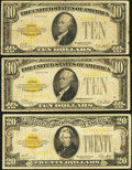 Small Size:Gold Certificates, Fr. 2400 $10 1928 Gold Certificates. Two Examples. VG-Fine;. Fr. 2402 $20 1928 Gold Certificate. Fine.. ... (Total: 3 notes)
