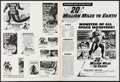 "Movie Posters:Science Fiction, 20 Million Miles to Earth (Columbia, 1957). Pressbook (12 Pages,12"" X 16"") & Uncut Pressbook (10 Pages, 11.5"" X 17""). Scien...(Total: 2 Items)"