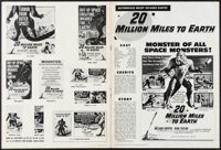 "20 Million Miles to Earth & Other Lot (Columbia, 1957). Fine/Very Fine. Cut Pressbook (12 Pages, 12"" X 16&q..."