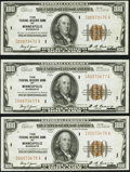 Fr. 1890-I $100 1929 Federal Reserve Bank Notes. Three Consecutive Examples. Very Fine+