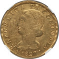 Colombia, Colombia: Republic gold 8 Escudos 1827 POPAYAN-FM AU Details(Scratches, Cleaned) NGC,...