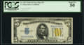 Small Size:World War II Emergency Notes, Late Finished Face Plate 307 Fr. 2307 $5 1934A North Africa Silver Certificate. PCGS About New 50.. ...