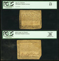 Colonial Notes, Maryland August 14, 1776 $1/9 PCGS Fine 15;. Maryland August 14,1776 $1/3 PCGS Apparent Very Fine 20.. ... (Total: 2 notes)