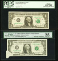 Error Notes:Attached Tabs, Fr. 1912-H $1 1981A Federal Reserve Note with Back Plate 129Engraving Error. PCGS Gem New 65PPQ;. Butterfly Fold Error Fr.19... (Total: 2 notes)