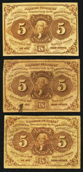 Fractional Currency:First Issue, Fr. 1230 5¢ First Issue Three Examples Very Good-Fine or Better.. ... (Total: 3 notes)