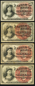 Fractional Currency:Fourth Issue, 10¢ Fourth Issue Fractionals Quartet Very Good-Fine or Better.. ... (Total: 4 notes)