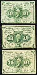 Fractional Currency:First Issue, Fr. 1242 10¢ First Issue Three Examples Fine or Better.. ... (Total: 3 notes)