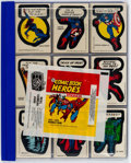 Memorabilia:Trading Cards, Marvel Comic Book Heroes Sticker Set and Wrapper (Topps, 1974)....