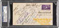 Baseball Collectibles:Others, 1939 Inaugural Hall of Fame Induction Class Signed First Day Cover, PSA/DNA Mint 9. . ...