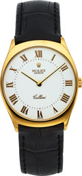 Timepieces:Wristwatch, Rolex Ref. 4133 Gold Cellini With Enamel Dial. ...