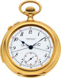 Timepieces:Pocket (post 1900), Patek Philippe For Tiffany & Co, No. 97866, Very Fine Gold Minute Repeating Split-Seconds Chronograph, Circa 1900. ...