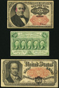 Fractional Currency:Fifth Issue, 25¢ and 50¢ Fractionals.. ... (Total: 3 notes)