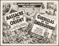 "Movie Posters:Adventure, Danger in the Pacific/Paris Underground Combo (Realart, R-1951).Half Sheet (22"" X 28"") Reissue Title: Massacre in the Ori..."