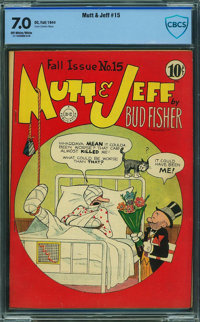 Mutt and Jeff #15 - CBCS CERTIFIED (DC, 1944) CGC FN/VF 7.0 Off-white to white pages