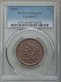 Large Cents: , 1856 1C Upright 5 MS64 Brown PCGS. PCGS Population: (105/39). NGC Census: (168/109). CDN: $480 Whsle. Bid for problem-free ...