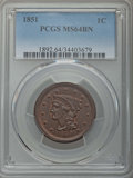 Large Cents: , 1851 1C MS64 Brown PCGS. PCGS Population: (177/105). NGC Census: (139/172). MS64. Mintage 9,889,707. ...