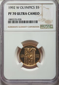 1992-W $5 Olympic Gold Five Dollar PR70 Ultra Cameo NGC. NGC Census: (2588). PCGS Population: (302)....(PCGS# 9926)