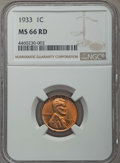 1933 1C MS66 Red NGC. NGC Census: (204/24). PCGS Population: (381/69). CDN: $225 Whsle. Bid for problem-free NGC/PCGS MS...