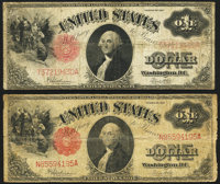 Fr. 39 $1 1917 Legal Tenders Two Examples Very Good