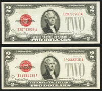 Fr. 1508 $2 1928G Legal Tender Notes. Two Examples. Very Fine or Better