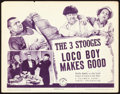 "Movie Posters:Comedy, The Three Stooges in Loco Boy Makes Good (Columbia, 1942). TitleLobby Card (11"" X 14"").. ..."