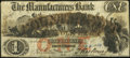 Obsoletes By State:Rhode Island, Providence, RI- Manufacturers Bank Altered $1 Jan. 4, 1854. ...