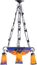 Art Glass:Muller, A Muller Freres Art Nouveau Iron and Glass Chandelier, circa 1910.Marks: FRES, LUNEVILLE. 25 inches high x 19 inches wi...(Total: 2 Items)