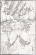 Original Comic Art:Splash Pages, Dale Keown A+X #1 Splash Page 8 Hulk and Wolverine Original Art (Marvel, 2012)....