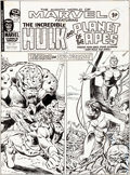 Original Comic Art:Covers, Pablo Marcos Mighty World of Marvel #241 Cover Hulk and Planet of the Apes Original Art (Marvel UK, 1977)....