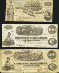 Confederate Notes:Group Lots, T39 $100 1862 PF-2;. T40 $100 1862 PF-1 Cr. 298;. T44 $1 1862 PF-1Cr. 339.. ... (Total: 3 notes)